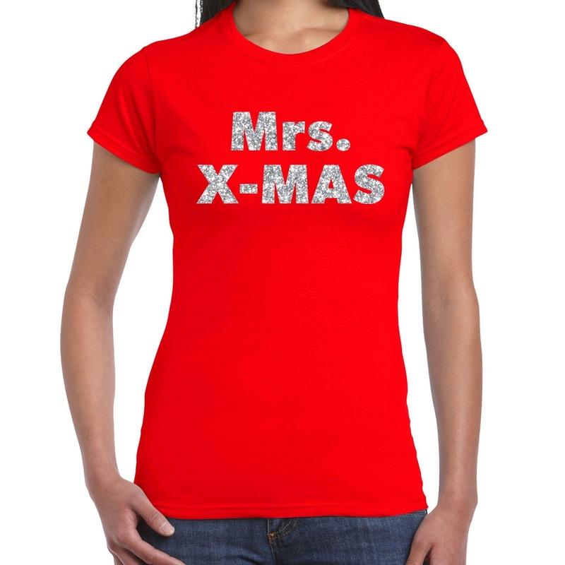 Fout kerst shirt mrs x-mas zilver - rood voor dames XS Rood