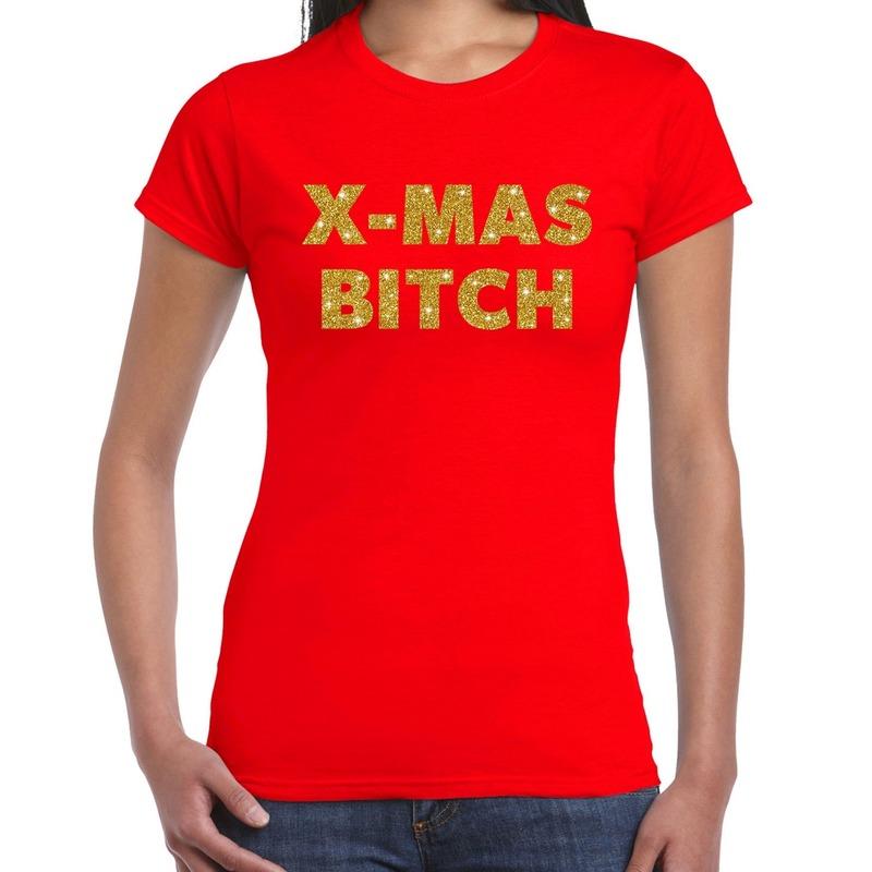 Fout kerst shirt X-mas bitch goud - rood voor dames L Rood