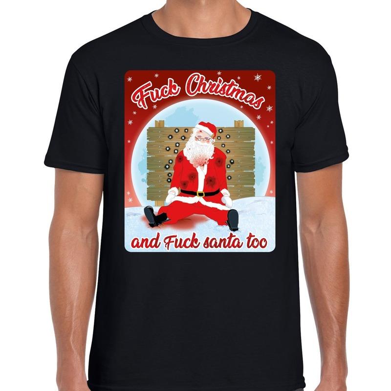 Fout kerst t-shirt fuck christmas zwart voor heren