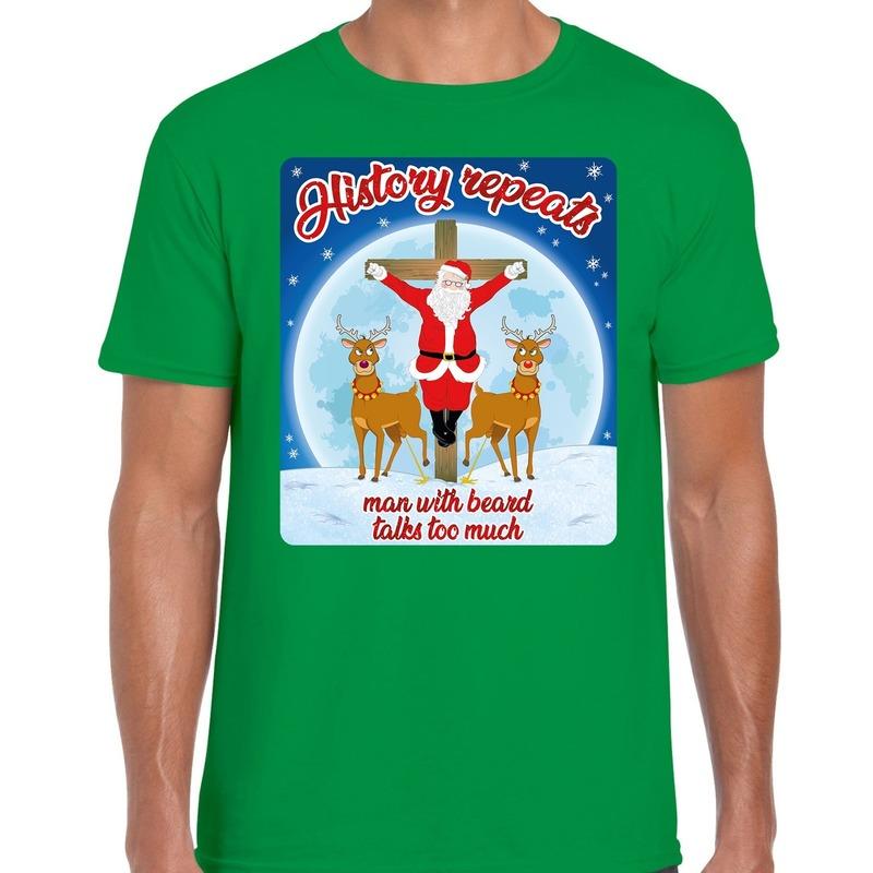 Fout kerst t-shirt history repeats groen voor heren