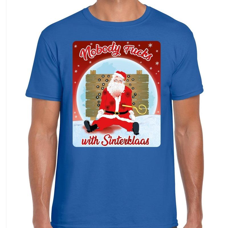 Fout kerst t-shirt nobody fucks with sinterklaas blauw heren
