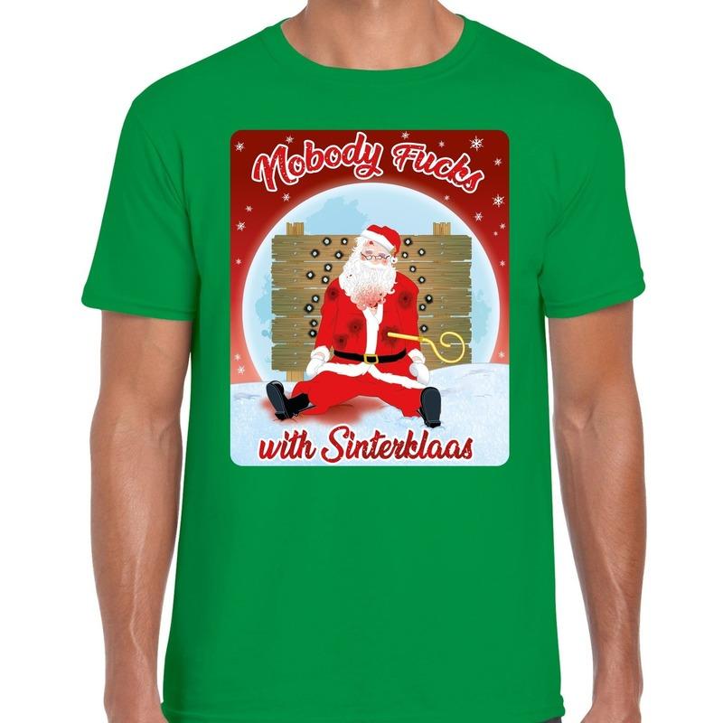Fout kerst t-shirt nobody fucks with sinterklaas groen heren