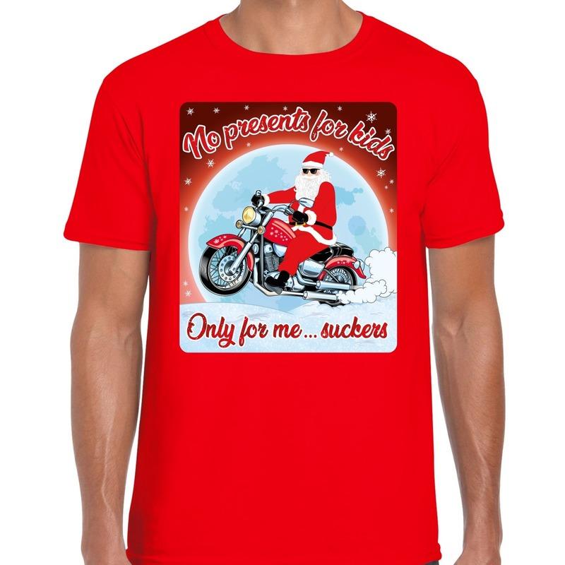 Fout kerst t-shirt voor motorliefhebbers no presents rood heren