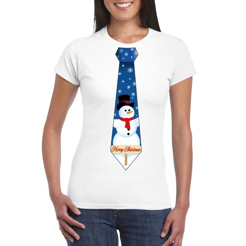 Fout kerst t-shirt wit met sneeuwpop stropdas voor dames