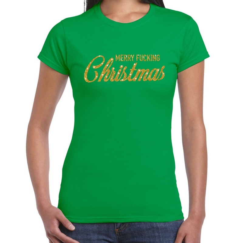 Fout kerstshirt Merry Fucking Christmas goud glitter groen dames