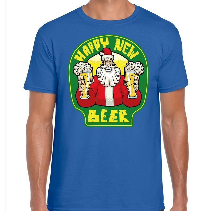 Fout Nieuwjaar - Kerstshirt happy new beer - bier blauw heren