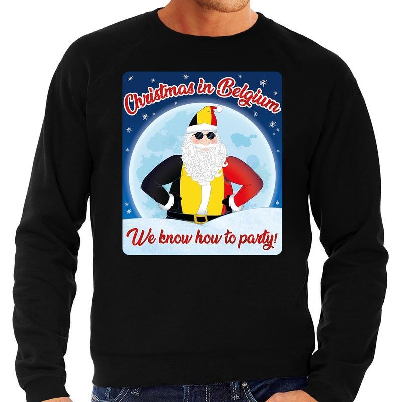 Foute Belgie kersttrui Christmas in Belgium zwart voor heren