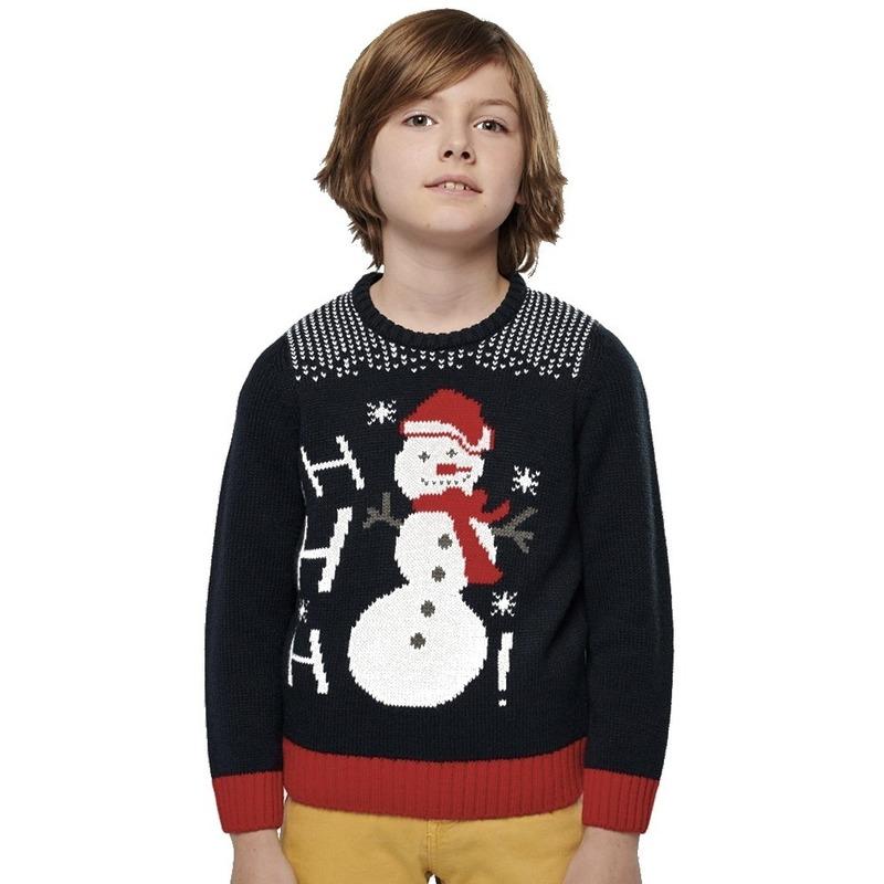 Foute gebreide kersttrui donkerblauw Sneeuwpop voor kinderen