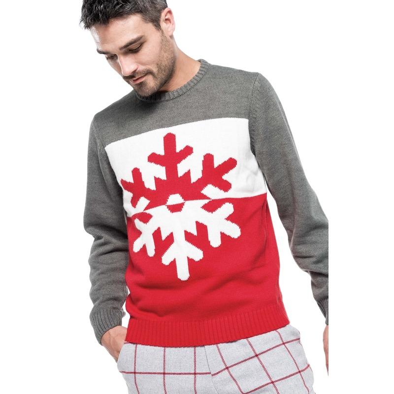 Foute gebreide kersttrui grijs/rood met sneeuwvlok voor heren 2XL (44/56) Multi