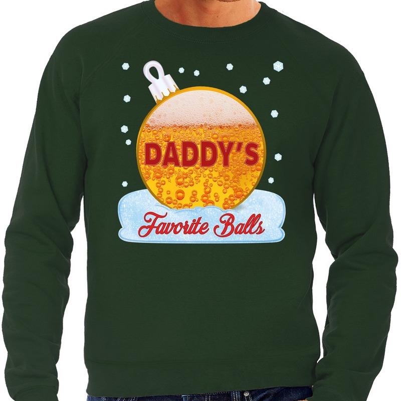 Foute kerst sweater - trui Daddy favorite balls bier groen heren