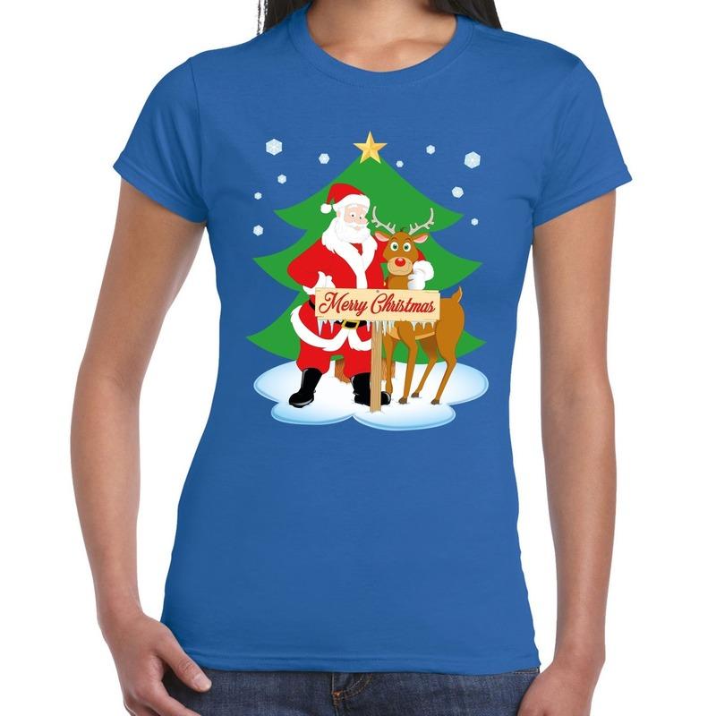 Foute Kerst t-shirt kerstman en rendier Rudolf blauw dames