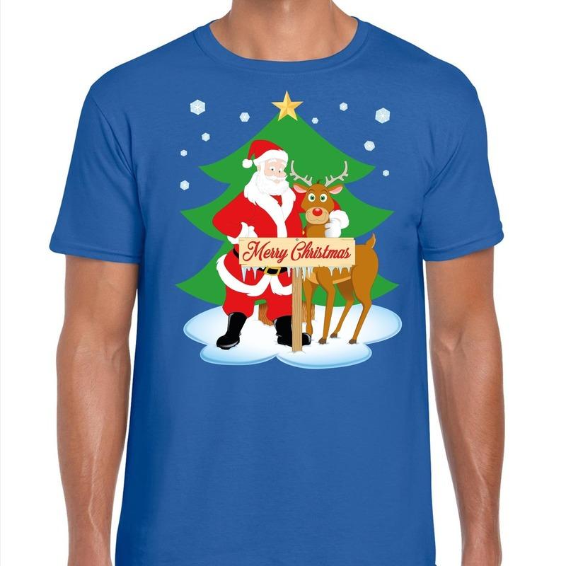 Foute Kerst t-shirt kerstman en rendier Rudolf blauw heren