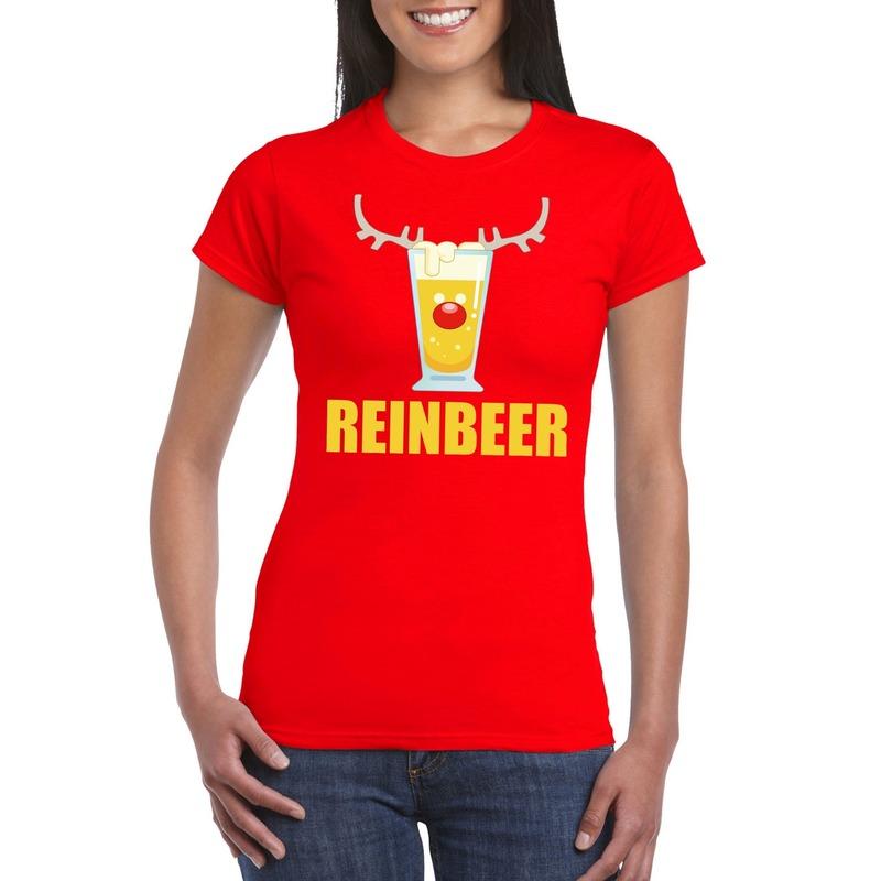 Foute Kerst t-shirt Reinbeer rood voor dames
