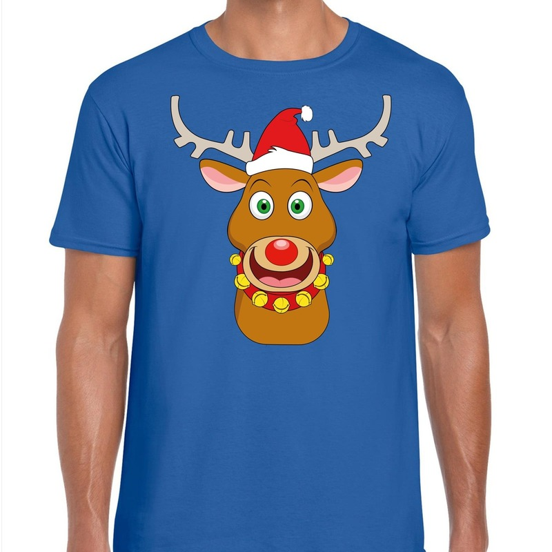 Foute Kerst t-shirt rendier Rudolf rode kerstmuts blauw heren M Blauw