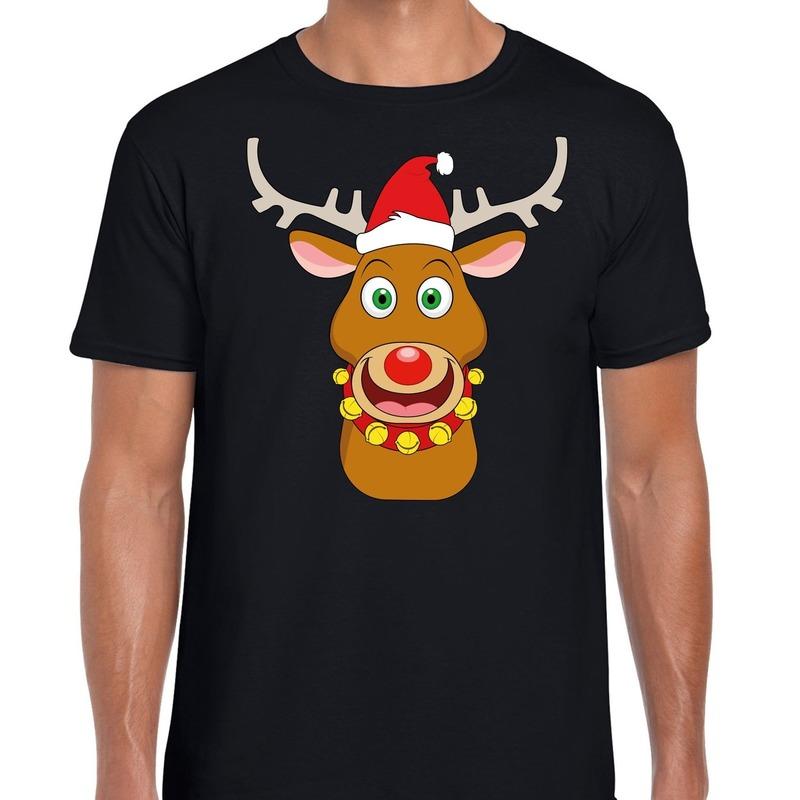 Foute Kerst t-shirt rendier Rudolf rode kerstmuts zwart heren XL Zwart