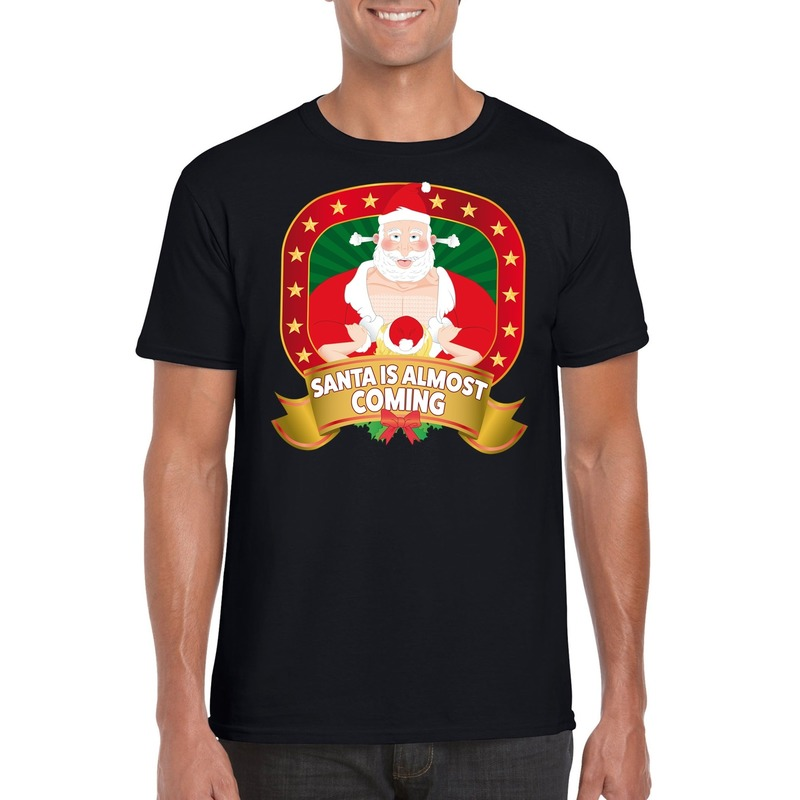 Foute Kerst t-shirt Santa is almost coming voor heren