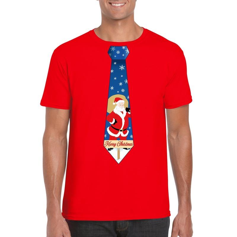 Foute Kerst t-shirt stropdas met kerstman print rood voor heren
