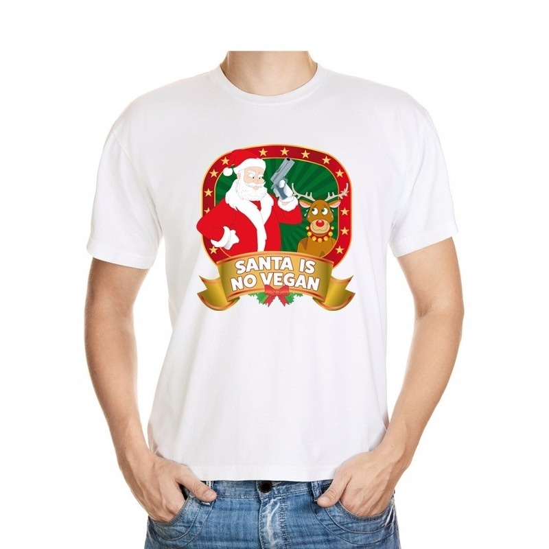 Foute Kerst t-shirt wit Santa is no vegan heren