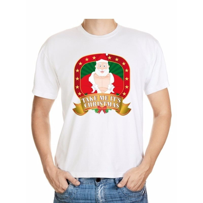 Foute Kerst t-shirt wit take me it's christmas