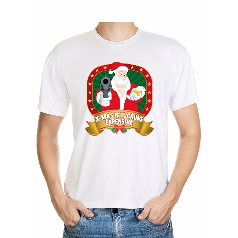 Foute Kerst t-shirt wit X-mas is fucking expensive voor heren