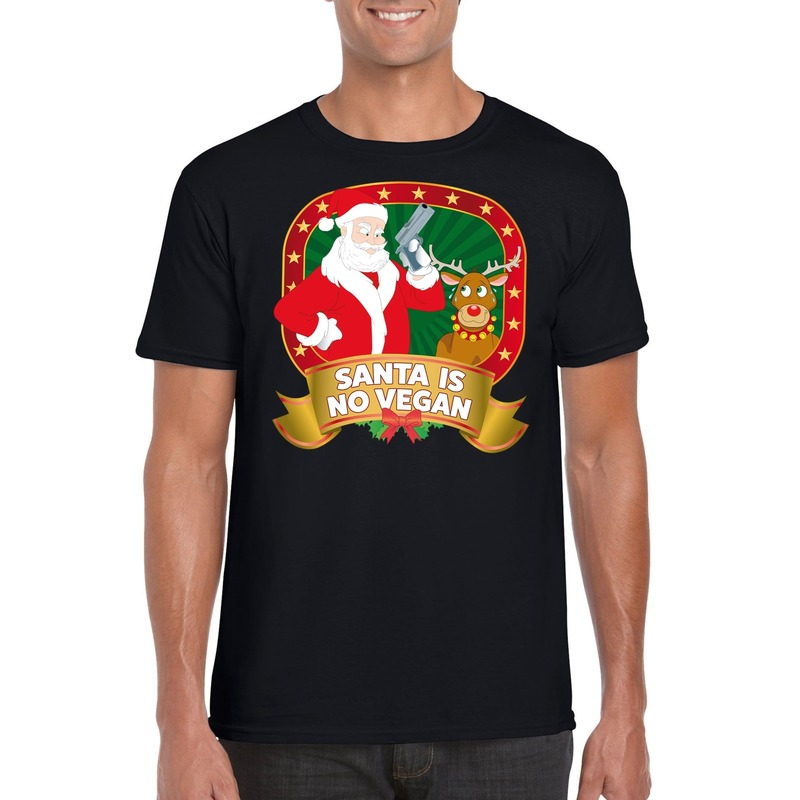 Foute Kerst t-shirt zwart Santa is no vegan heren