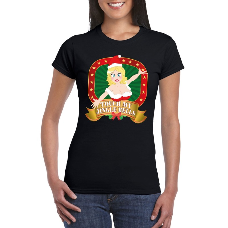Foute kerst t-shirt zwart Touch my jingle bells voor dames