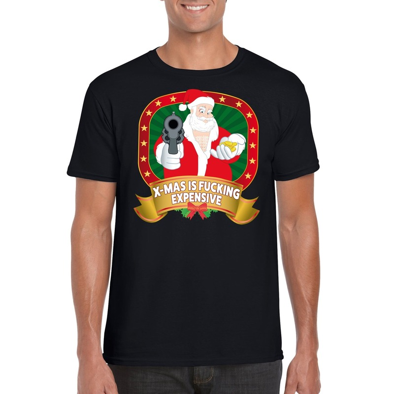 Foute Kerst t-shirt zwart X-mas is fucking expensive voor heren