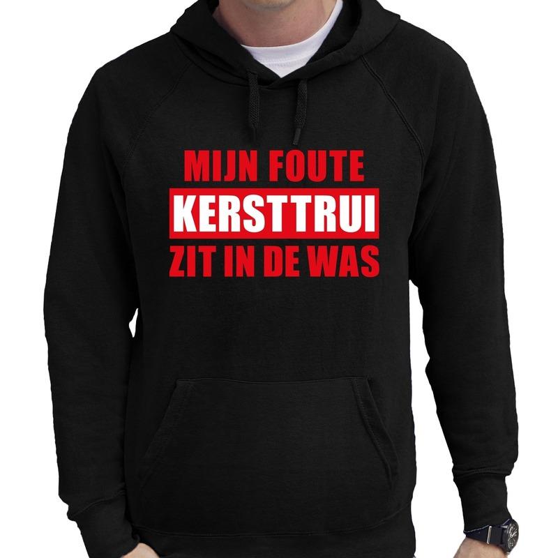 Foute Kerst trui/hoodie zit in de was zwart voor heren