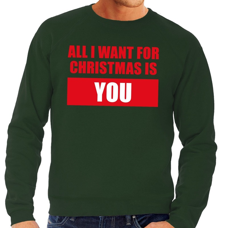 Foute kersttrui All I Want For Christmas Is You groen heren