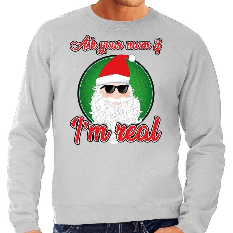 Foute Kersttrui ask your mom grijs voor heren