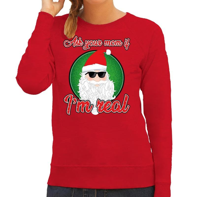 Foute Kersttrui Ask your mom rood voor dames