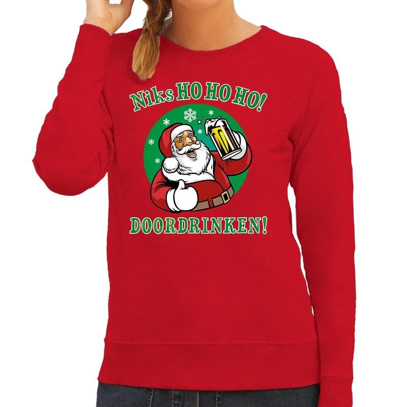Foute Kersttrui bier drinkende kerstman rood voor dames