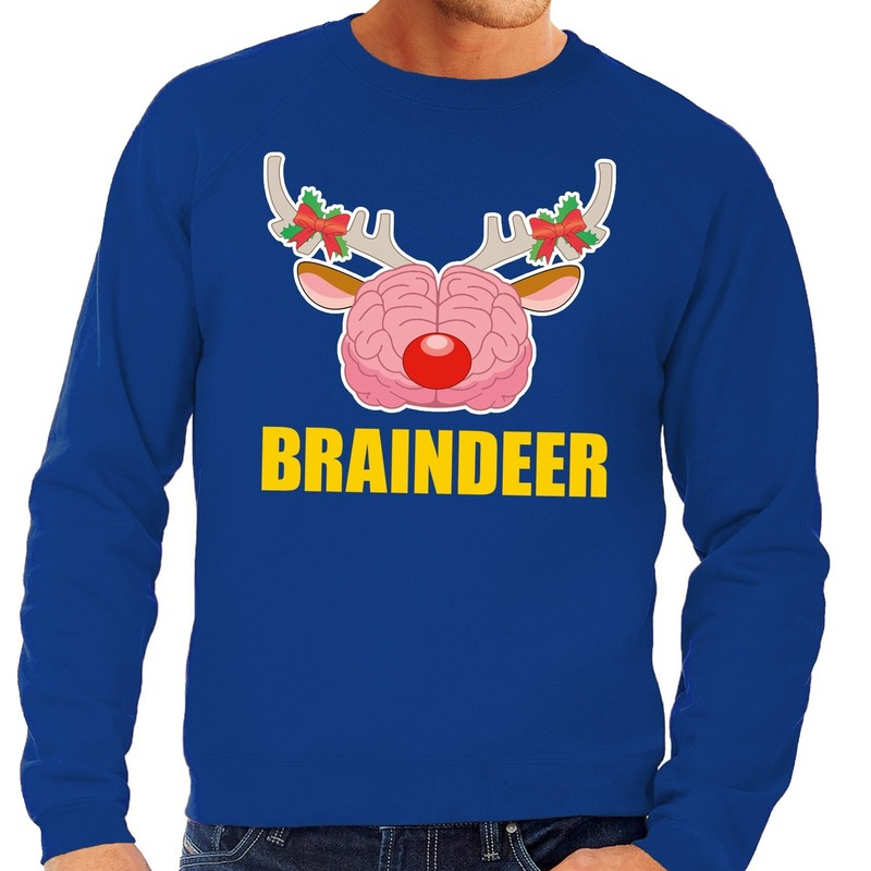 Kersttrui S.Maffe Truien Nl Foute Kersttrui Braindeer Blauw Voor Heren S 48