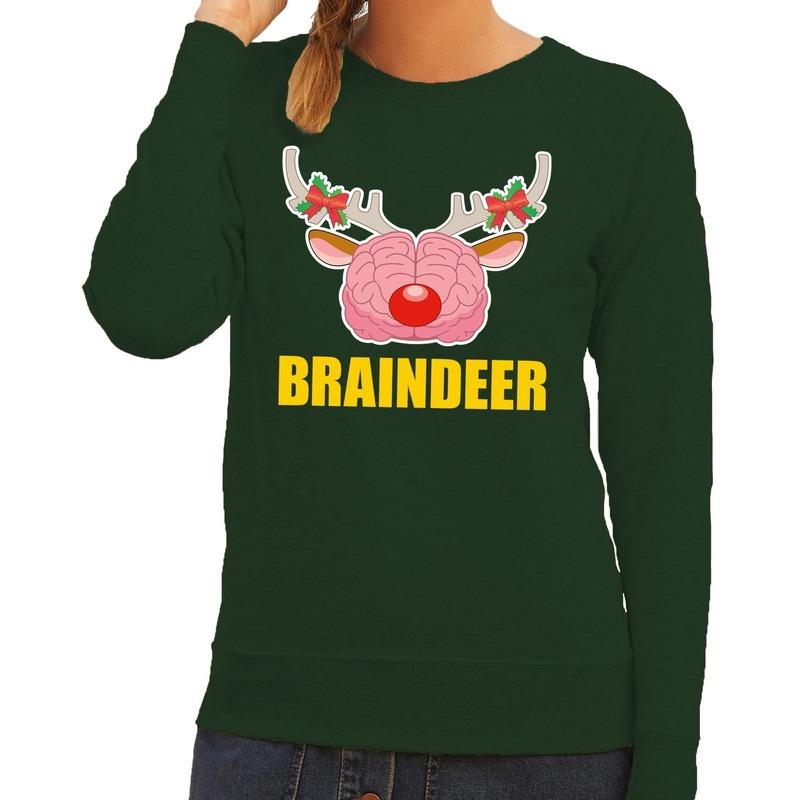 Foute kersttrui braindeer groen voor dames