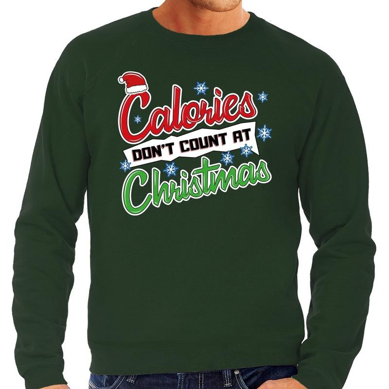 Foute Kersttrui calories dont count christmas groen voor heren