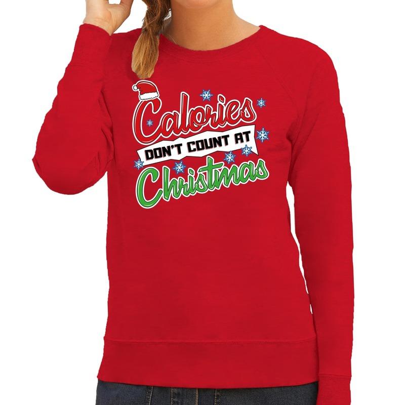 Foute Kersttrui calories dont count christmas rood voor dames