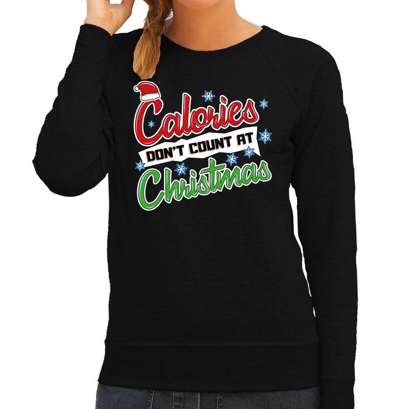 Foute Kersttrui calories dont count christmas zwart voor dames