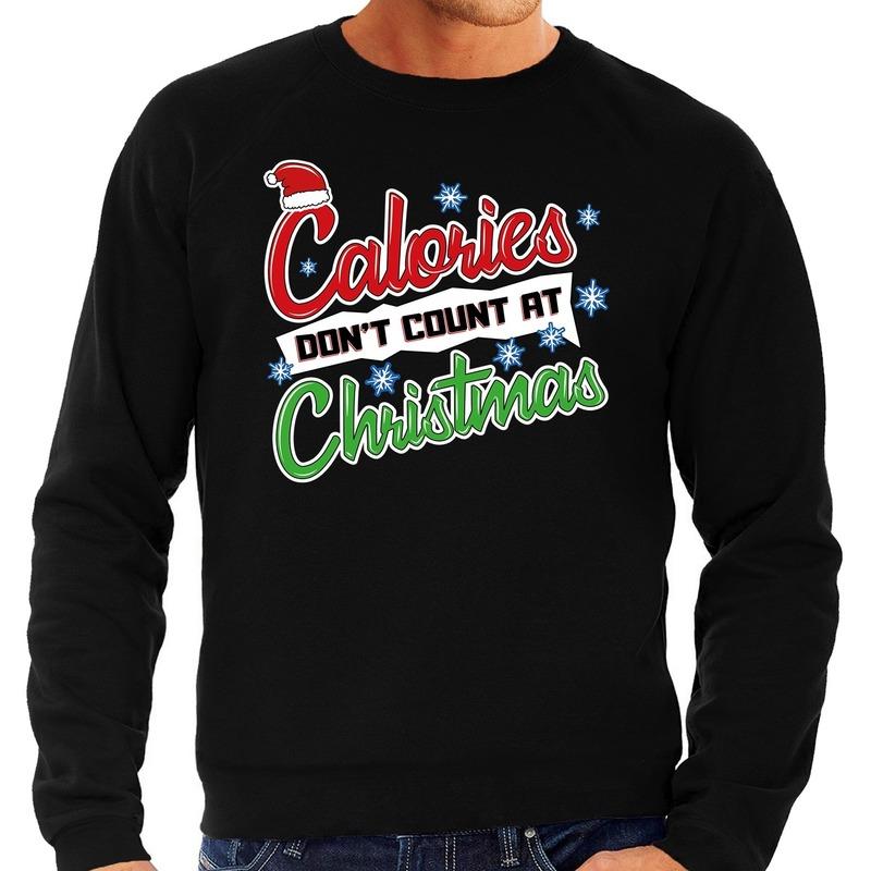 Foute Kersttrui calories dont count christmas zwart voor heren