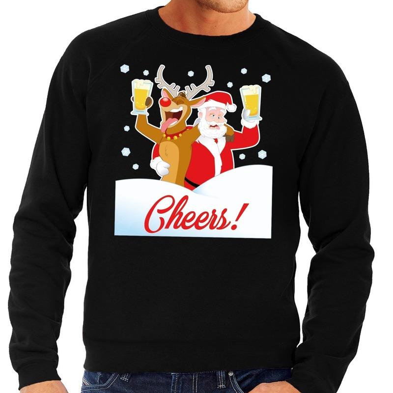 Kersttrui Kerstman.Foute Kersttrui Cheers Met Dronken Kerstman Zwart Heren Kerst