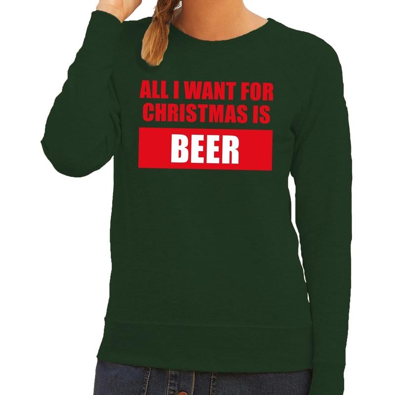 Foute kersttrui Christmas Beer groen voor dames