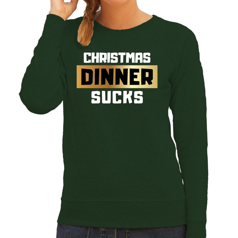 Foute Kersttrui Christmas dinner sucks groen voor dames