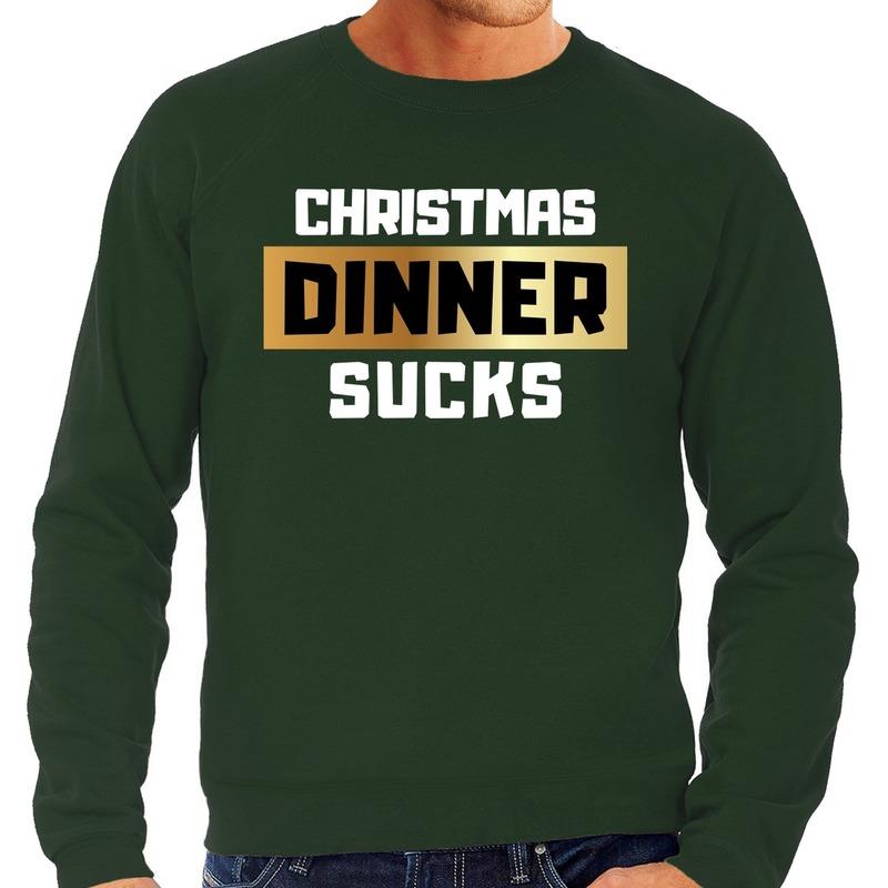 Foute Kersttrui Christmas dinner sucks groen voor heren