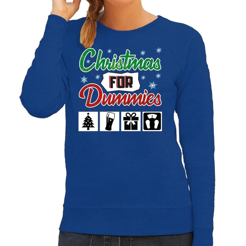 Foute Kersttrui Christmas for dummies blauw voor dames