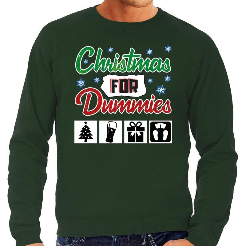 Foute Kersttrui Christmas for dummies groen voor heren