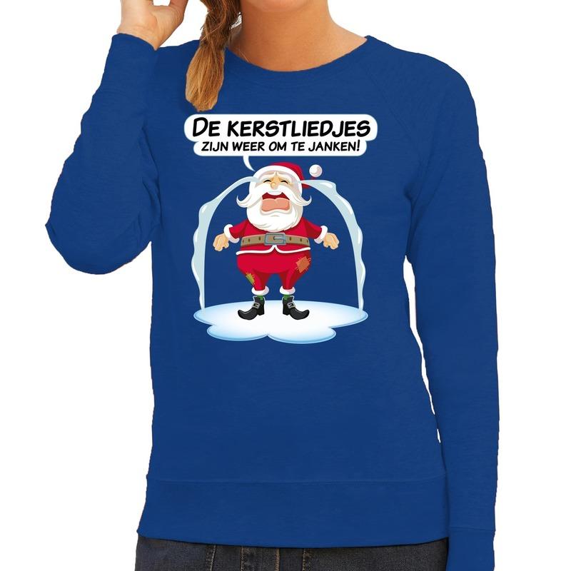 Foute Kersttrui de kerstliedjes zijn om te janken blauw dames