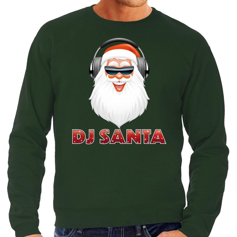 Foute Kersttrui DJ santa met koptelefoon groen voor heren