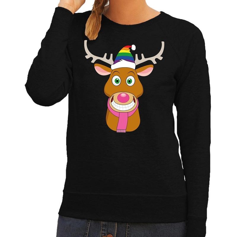 Foute kersttrui Gay Rudolf het rendier zwart dames S (36) Zwart