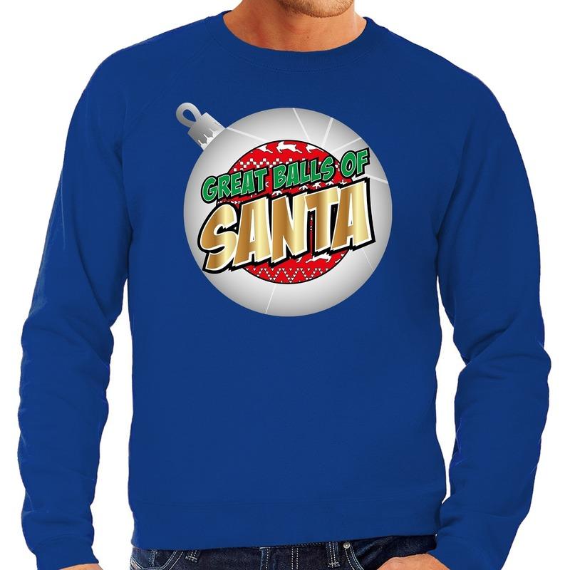 Foute Kersttrui Great balls of Santa blauw voor heren