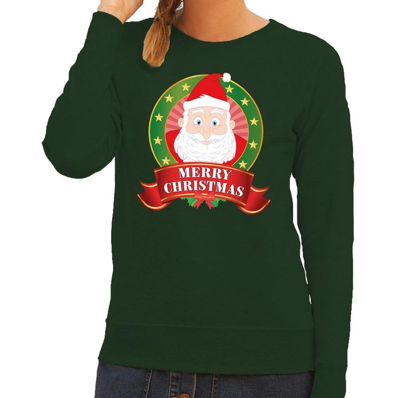 Foute kersttrui groen Kerstman Merry Christmas voor dames