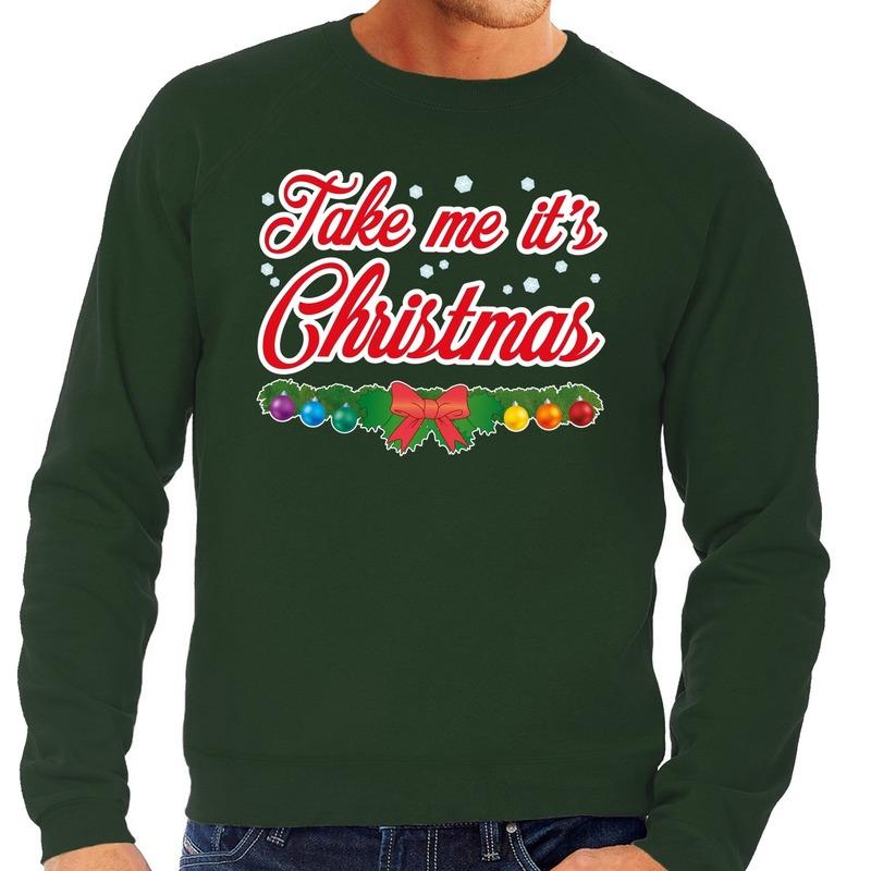 Foute kersttrui groen Take Me Its Christmas voor heren L (52) Groen